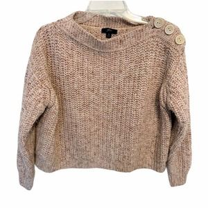 J.Crew chunky cable hand knit wool cardigan cropped M camel tan